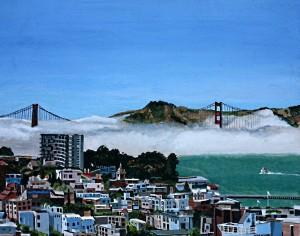 Fog through the Golden Gate