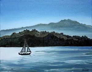Twilight Sailing by Mt. Tam